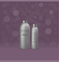 Silver shampoo and foam bottles vector