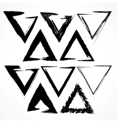set of grunge triangle brush strokes vector image