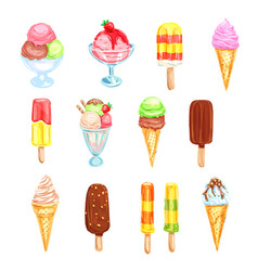 Ice cream cold dessert food watercolor set vector