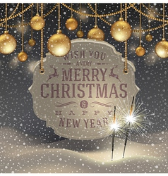 Christmas greeting signboard and baubles vector