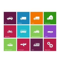 Cars and transport icons on color background vector