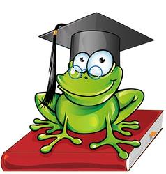 Wise frog cartoon vector image