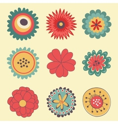Beautiful collection of big flowers vector