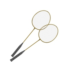 Badminton rackets isolated on white vector
