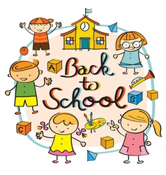 Kindergarten kids back to school heading vector