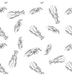 Doodle lobster pattern vector