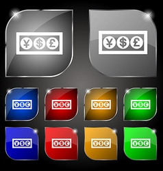 Cash currency icon sign set of ten colorful vector