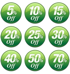 Shopping sale discount badge in green vector