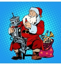 Santa Claus gift robot battery vector image