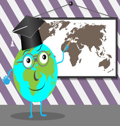 Cartoon globe teaches geography vector