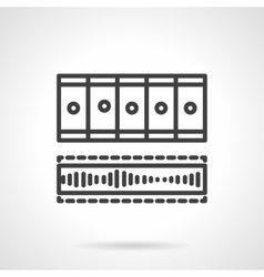 Processing video black line icon vector