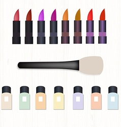 Set of realistic colored lipsticks brush for vector