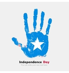 Handprint with the flag of somalia in grunge style vector