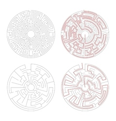 Two round mazes of medium complexity on white with vector