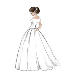 Sketch of young bride model in wedding dress vector