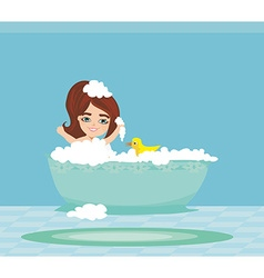 baby girl taking bath and playing vector image vector image