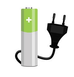Battery and plug vector image vector image