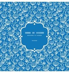 blue white lineart plants frame seamless vector image vector image