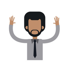 Character african man male tie hands up vector