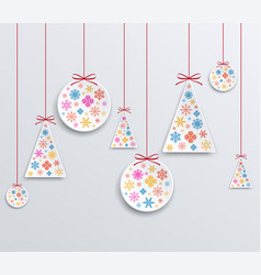 christmas and new year paper applique of snowflake vector image vector image