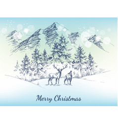 Christmas card winter landscape mountains vector