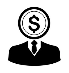 coin head businessman character icon vector image