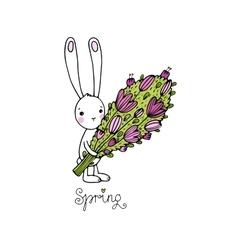 Cute little rabbit with a bouquet vector image vector image