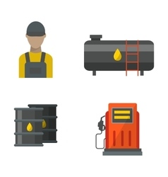 Gas oil station set vector image
