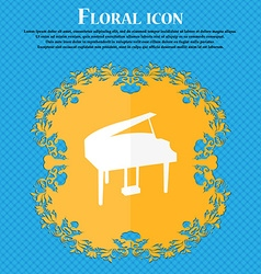 Grand piano icon Floral flat design on a blue vector image vector image
