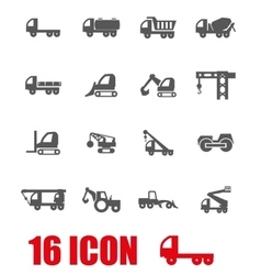 grey construction transport icon set vector image