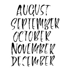 Hand drawn set of months modern dry brush vector