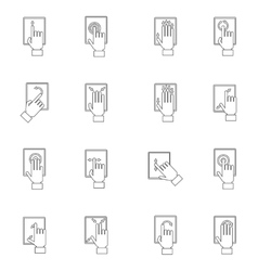 Hand touching screen outline icon vector
