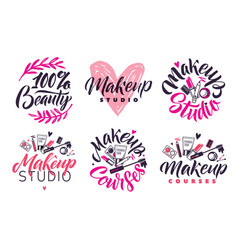 makeup studio and courses logo set vector image vector image