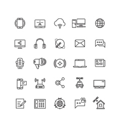 Media and communication line icons vector image vector image