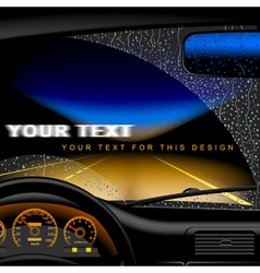 Night road in rain vector image