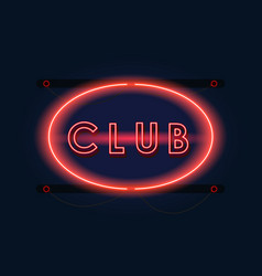 Nightclub red neon sign vector