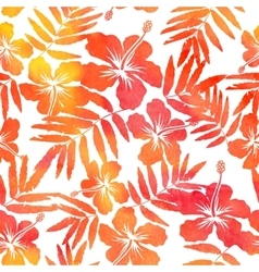 Red watercolor hibiscus seamless pattern vector
