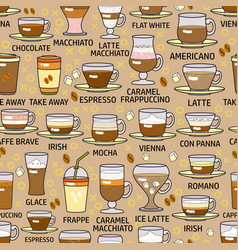 seamless pattern of colorful coffe vector image vector image
