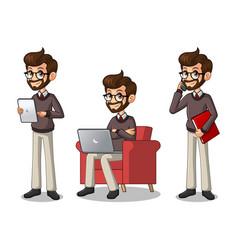 set of hipster businessman working on gadgets vector image vector image