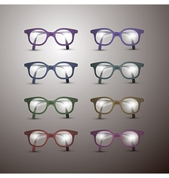 Set of Retro Glasses Isolated on Grey Background vector image vector image