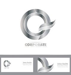 Silver 3d circle logo vector