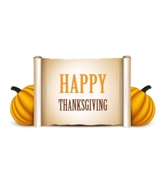 Thanksgiving banner card with empty paper scroll vector