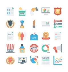 Vote and rewards colored icons 3 vector