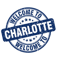 Welcome to charlotte blue round vintage stamp vector