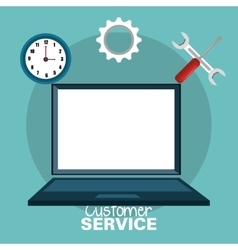 Laptop customer service call center design vector