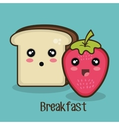 Food bread strawberry graphic vector