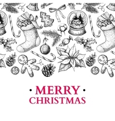 Christmas holiday greeting card hand drawn vector