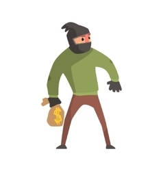 Criminal with the sock on head holding money bag vector