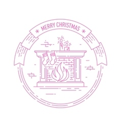 Christmas and Happy New Year badge with fireplace vector image