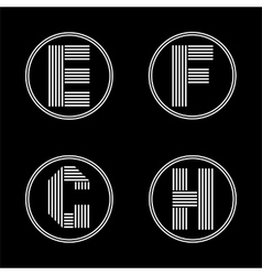 Capital letters e f g h from white stripe in a vector